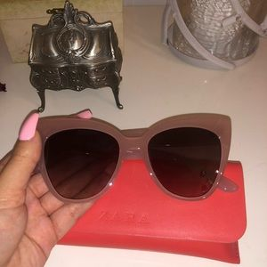 Zara Pastel Mauve Cat Eye Sunglasses
